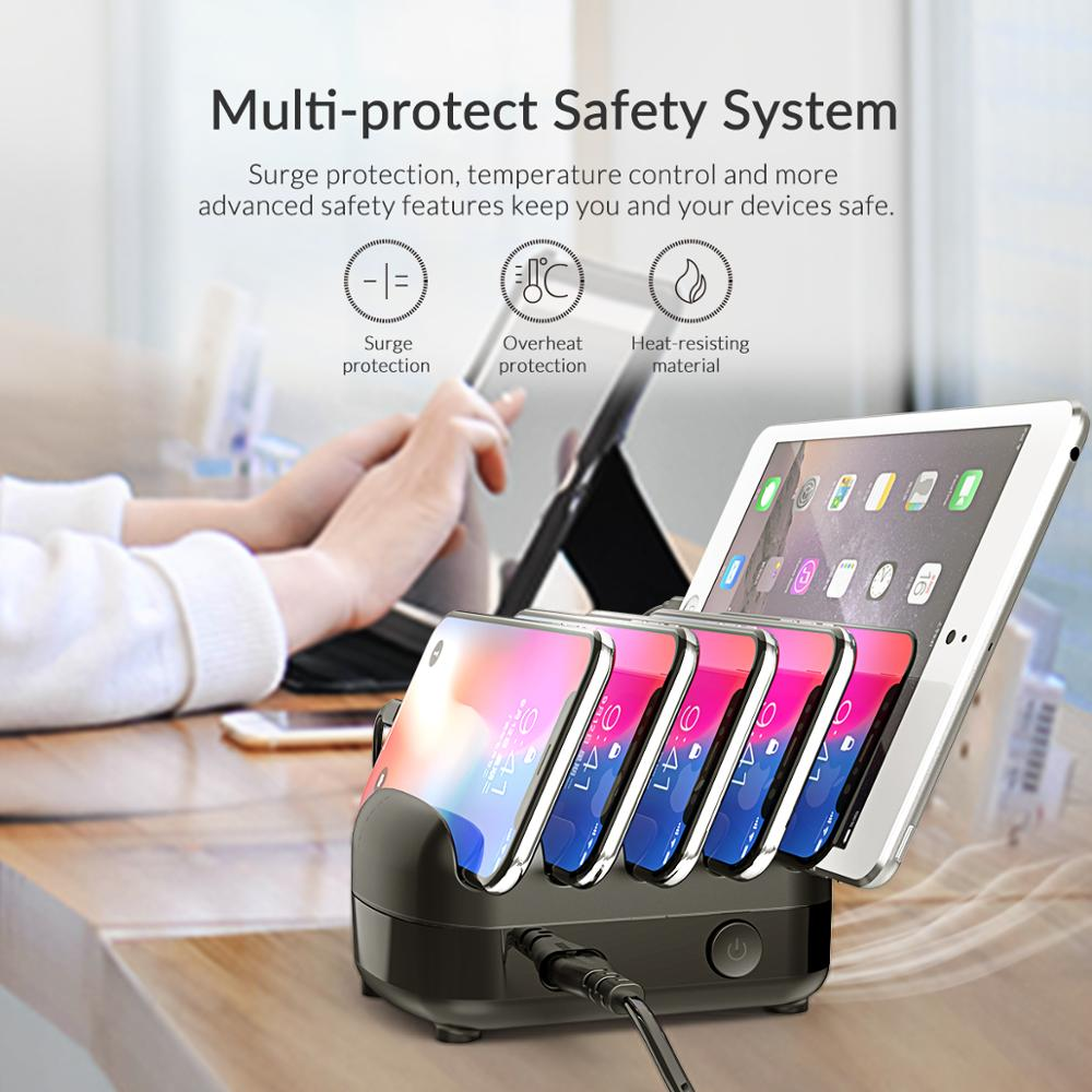 ORICO USB Charger Station Dock with Holder 40W 5V2.4A*5 USB Charging Free USB Cable for iphone ipad PC Kindle Tablet 5