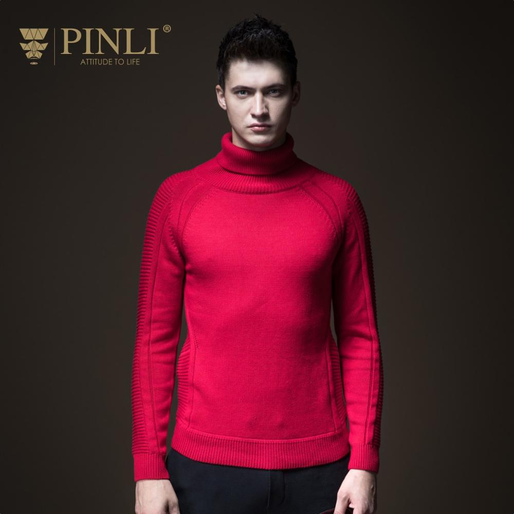 Pinli 2020 Winter New Discount Clearance Slim Solid Turtleneck Wei Bo Warm Pullovers Casual Men Long Sleeve Sweater Hot Sale