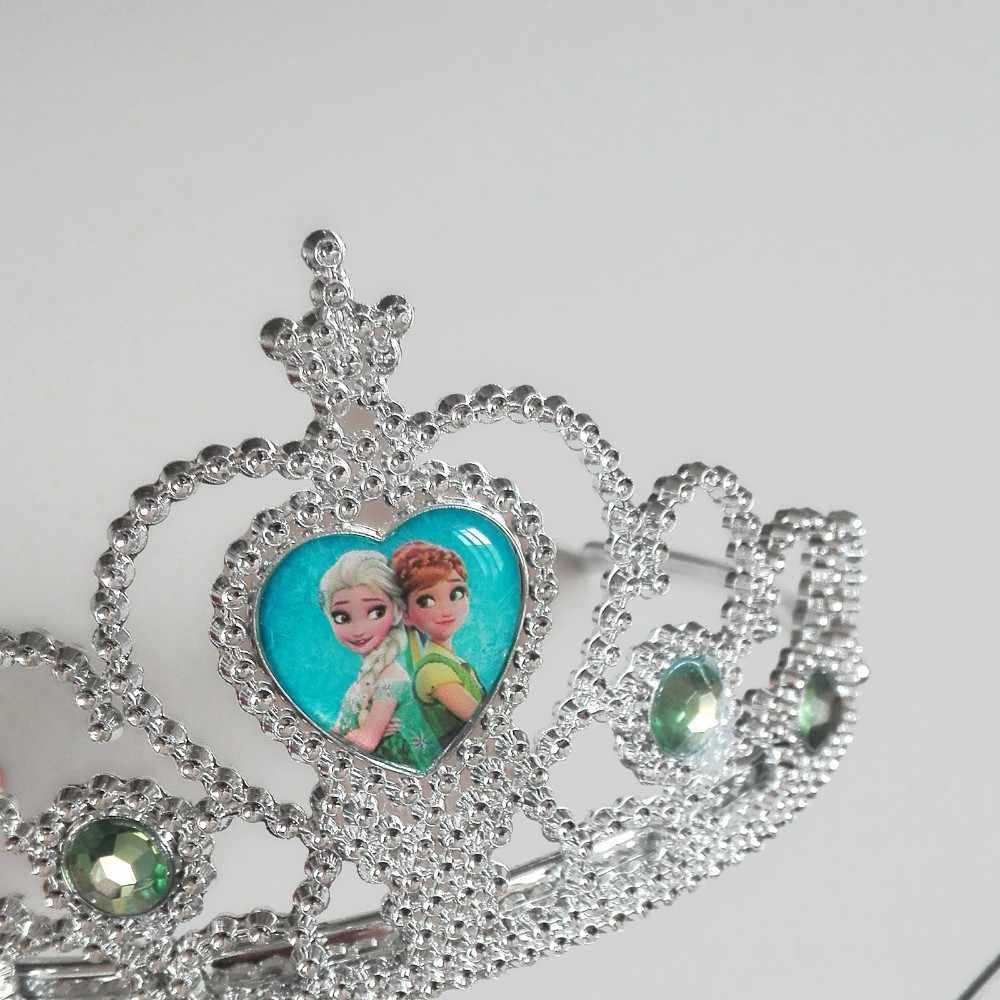 Es Beku dan Salju Putri Anna dan Elsa Tema Hiasan Kepala Bayi Shwer Nikmat Pesta Dekorasi Gadis Ulang Tahun Pasokan Crown