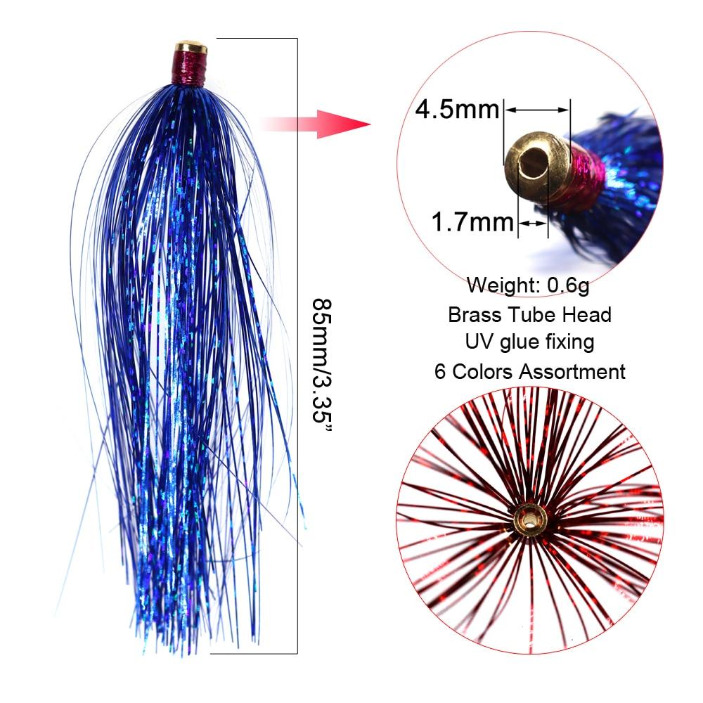 ICERIO 6 шт. латунная скользящая трубка стример Голографическая мишура мигалка Прорезыватель форель рыболовные приманки снасти