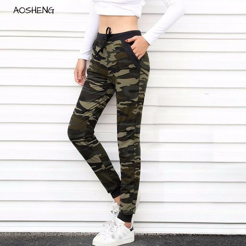 AOSHENG 2019 New Camouflage Joggers Women Sweatpants Harem Camo Pants Drawstring Pantalones Femme Mujer Loose Calca Female