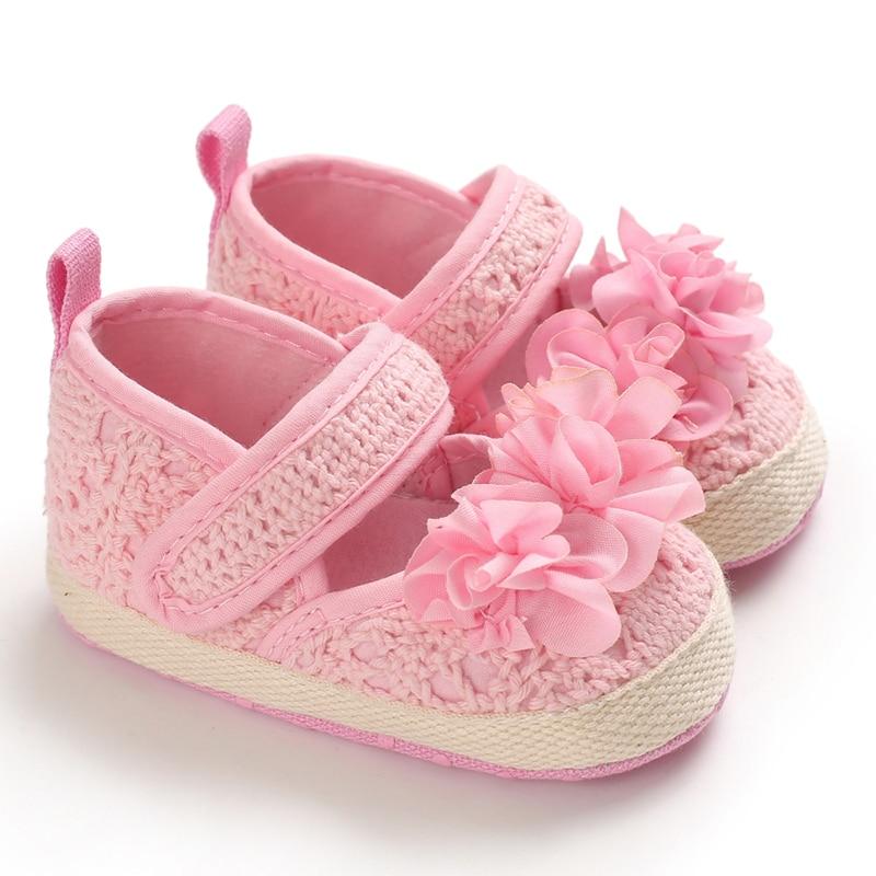 US 0-18M Newborn Baby Girl Soft Sole Crib Shoes Infant Floral Laces Prewalker