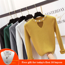 2019 Sweety pearl V-Neck Yellow Lady's Sweater Spring Slim Beading Pullover Female Pull Pink Sweater for Women Jumper Knit Tops недорого