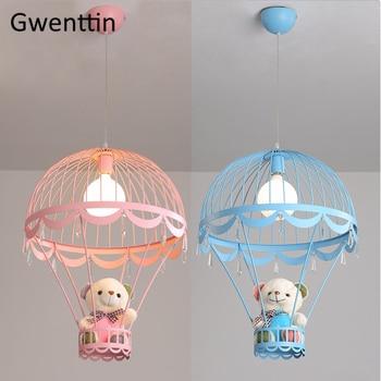 Sıcak Hava Balonu Kolye Işıkları Ayı Hanglamp Çocuk Yatak Odası için Asılı Lambalar Modern Ev Dekorasyonu Led aydınlatma armatürleri Luminarias