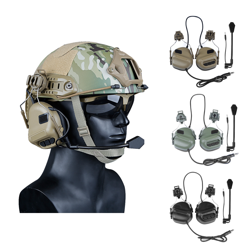 Newest Tactical Headsets With Fast Helmet Rail Adapter Military Airsoft CS Shooting Headset Army Communication Accessories