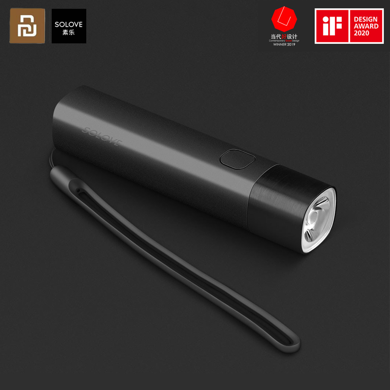 SOLOVE USB Rechargeable Mini Protable Flashlight 3000mAh Power Bank 258lm 3 Modes Small LED Torch Bike Light From Xiaomi Youpin