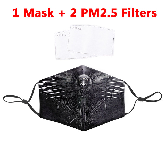 Crow And Skull Print Masks Washable Fabric Adult Face Mask Reusable Protective PM 2.5 Filter Dust Proof Flu Bacteria Mouth Masks