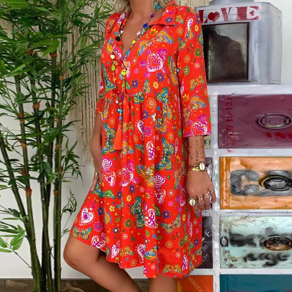 Hot Venda de Grandes Dimensões Mulheres Boho Vestidos de Praia Verão Moda Feminina Floral Do Partido Mini Vestido de Verão Outfits Plus Size S-5XL
