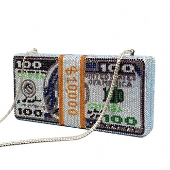 Clutch Bag Unique Design USD Dollars Money Clutch Women Crystal Diamond Celebrity Evening Bags Luxury Pink Party Purses Handbag