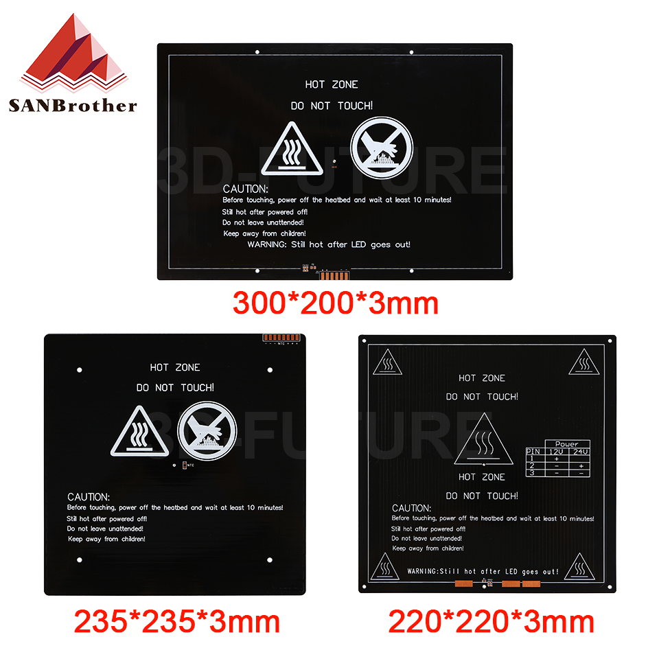 12V 24V Upgraded MK3 heatbed 235x235-220x220-300x200x3mm Aluminum Heated Bed hotbed for 3d printer p