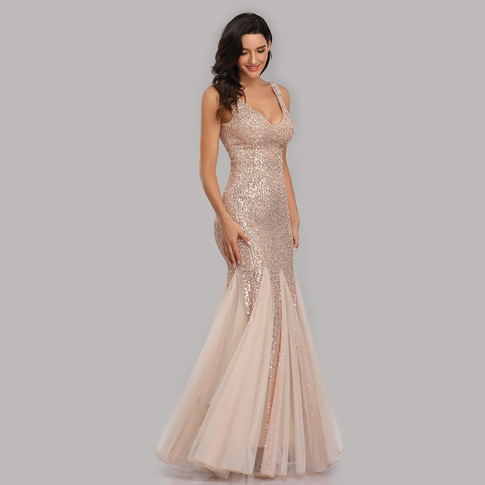 Plus Size V Neck Mermaid Cocktail Dress Long Formal Prom Party Gown Sequins Sleeveless Robe De Soriee Sexy Evening Vestido De