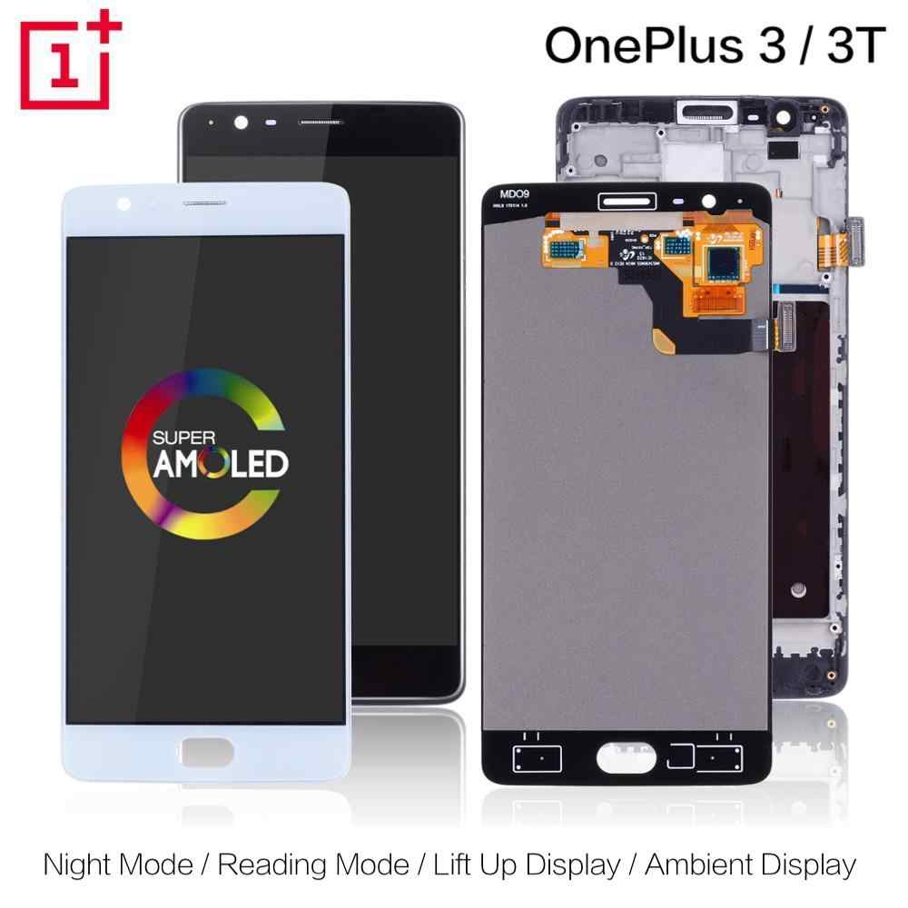 AMOLED Original Display For Oneplus 3T Display LCD Touch Screen with Frame Replacement For Oneplus 3 Display 3T LCD A3000 A3003