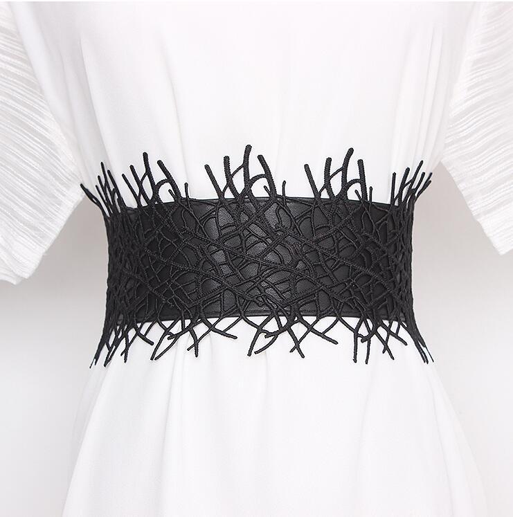 Women's Runway Fashion Lace Pu Leather Elastic Cummerbunds Female Dress Corsets Waistband Belts Decoration Wide Belt R2336