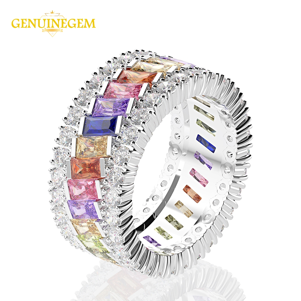 Image 4 - Jewepisode 100% Pure 925 Sterling Silver Created Moissanite Circle Finger Rings for Women Engagement Jewelry Christmas GiftsRings   -