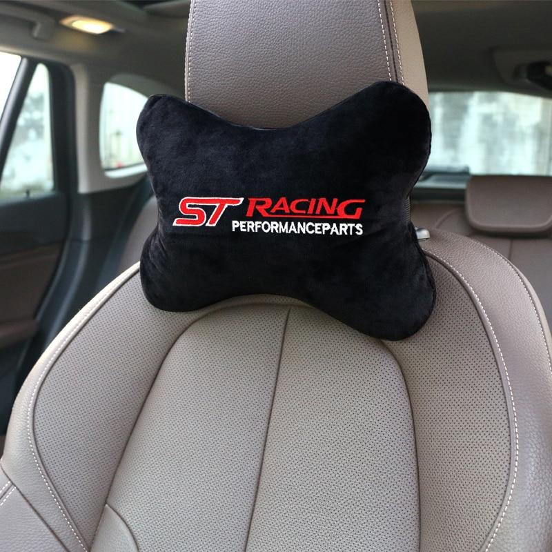 Автомобильная подушка для подголовника, автомобильная черная подушка для поддержки сиденья, подходит для Ford ST Racing Focus Kuga, 1 шт.