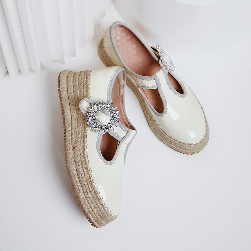 Image 3 - Womens real leather t strap platform flats loafers leisure soft 