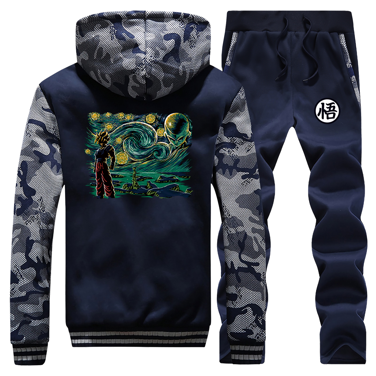 Japan Anime Vintage Thick Jacket Van Gogh's Dragon Ball Camo Male Set Set Men Warm Gym Suit 2019 Winter Fleece Pants Sweatshirts