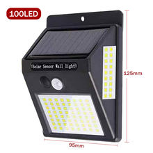 100 Led Solar Light Outdoor Solar Lamp Pir Motion Sensor Wandlamp Waterdichte Zonne-energie Zonlicht Voor Tuin Decoratie(China)