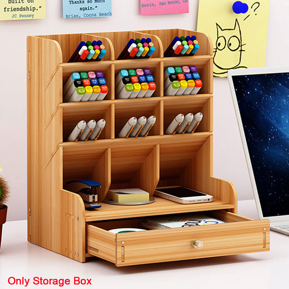 Large Capacity Home Wooden Pen Holder Save Space Student Office Supplies DIY Stationery Storage School Study Desk Organizer
