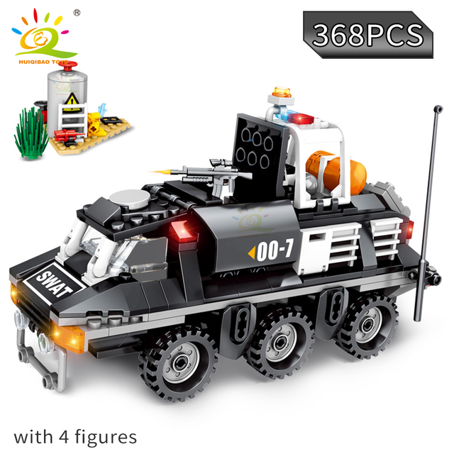 HUIQIBAO 368pcs Special Swat Police Armored Reconnaissance vehicle Building Blocks Bricks Car City Educational Toys for Children
