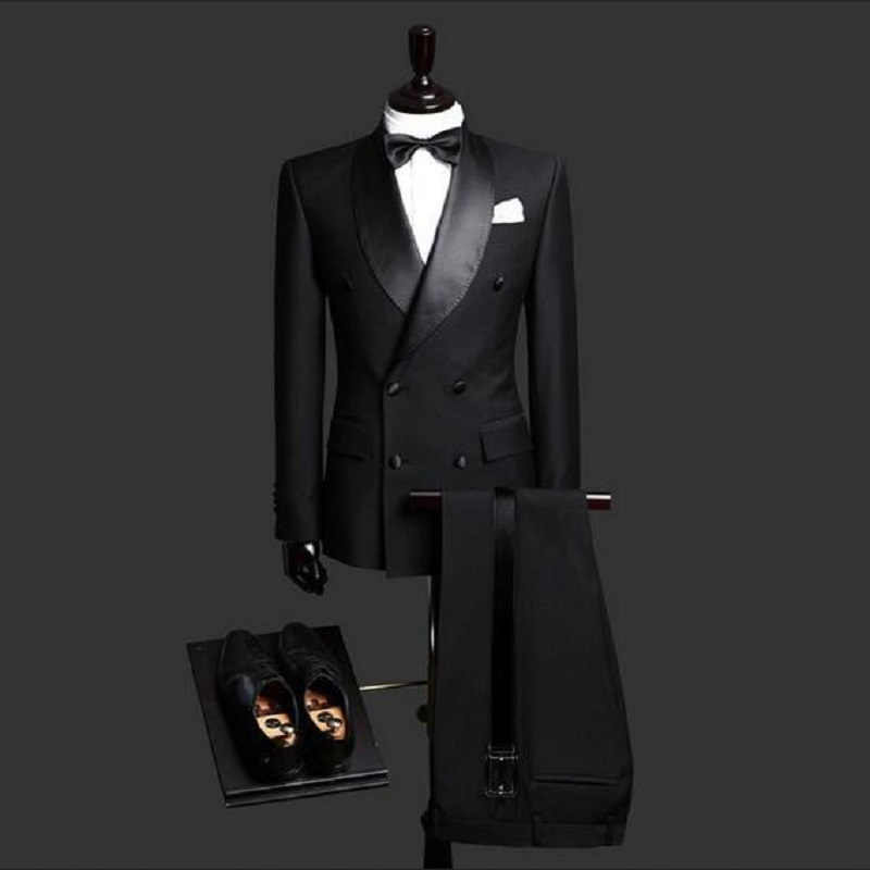 Black Shawl Lapel Bridegrooms Wedding Tuxedos Tailor Made Slim Fit Mens Party Suits Blazer Spring Real Photo (Jacket+Pant)