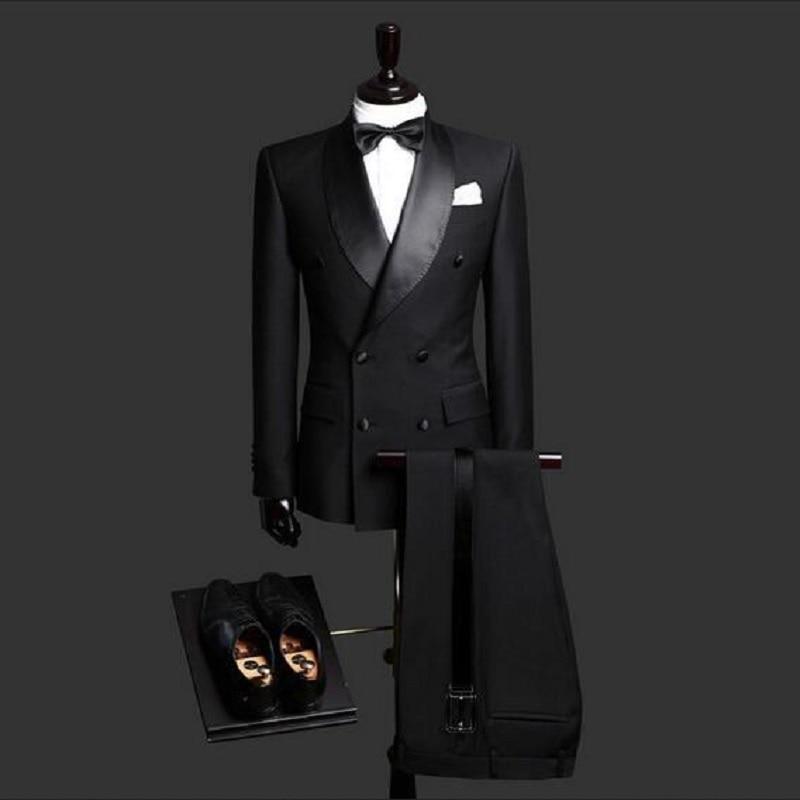 Black Shawl Lapel Bridegrooms Wedding Tuxedos Tailor Made Slim Fit Mens Party Suits Blazer Spring Real Photo (Jacket+Pant)