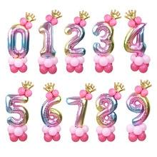 1 ชุด 32 นิ้วจำนวนฟอยล์บอลลูนมงกุฎรูป 0 9 วันเกิดงานแต่งงานเด็กวันเกิดตกแต่งGlobos ballอุปกรณ์