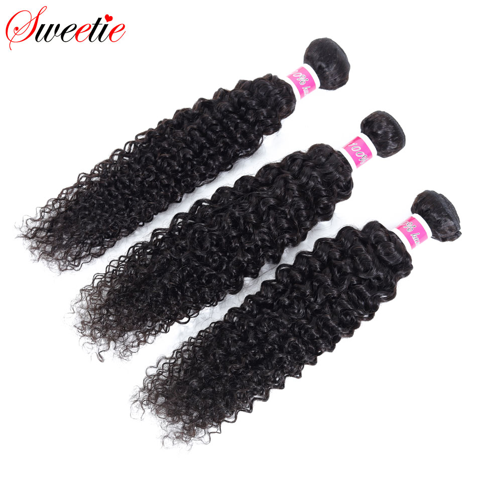 Image 4 - Sweetie Indian Hair Afro Kinky Curly Hair Extensions 100% Human Hair Weave Bundles Natural Color 3/4 Pieces 100G Non Remy-in Hair Weaves from Hair Extensions & Wigs