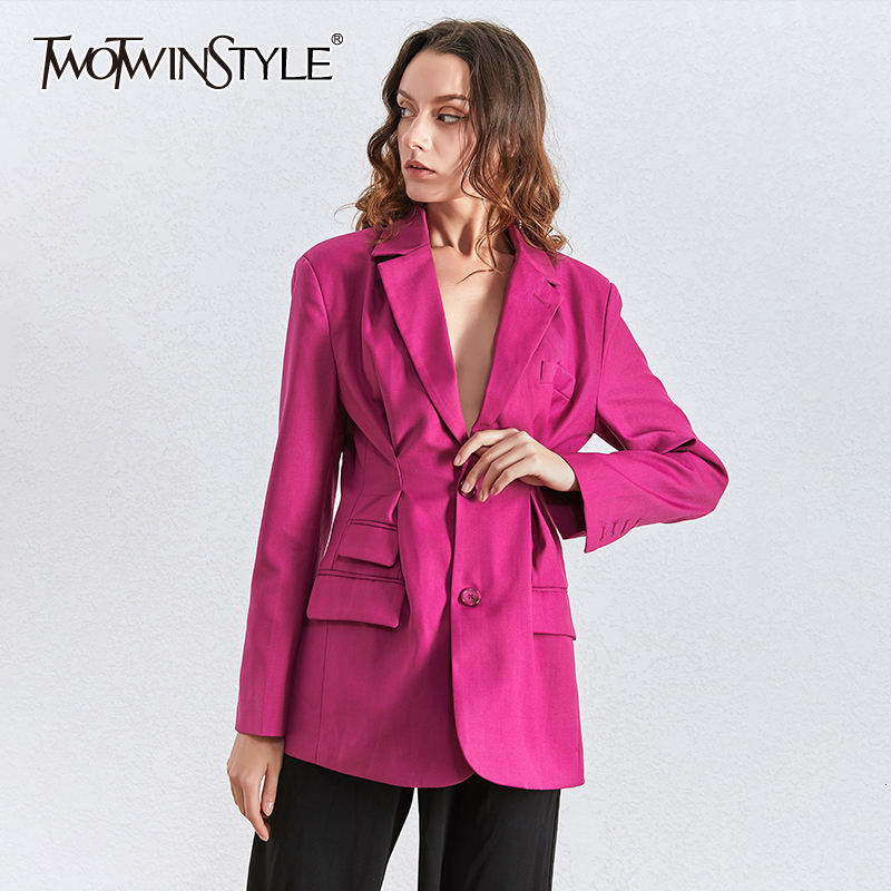 TWOTWINSTYLE Casual Ruched Loose Blazers For Women Lapel Collar Long Sleeve Tunic Ruched Suits Female 2020 Fashion Clothing Tide