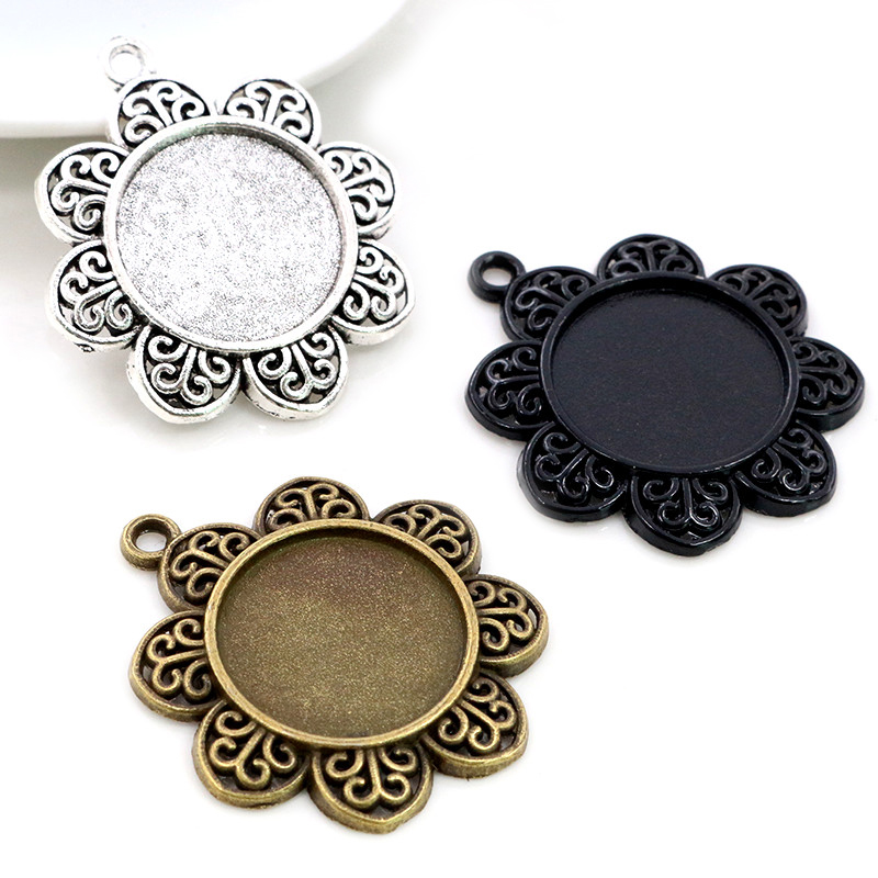 5pcs 20mm Inner Size Antique Silver Plated Bronze Black Flower Style Cabochon Base Setting Charms Pendant