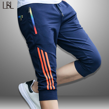 LBL Summer Casual Shorts Men Striped Men #8217 s Sportswear Short Sweatpants Jogger Breathable Trousers Boardshorts Man Drop Shipping cheap LBL LEADING THE BETTER LIFE bermuda homme COTTON Polyester Knee Length Elastic Waist REGULAR Fake Zippers gym shorts Summer Men s Shorts
