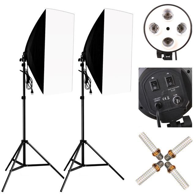 Photo Studio 8 LED 24W Softbox Kit Photographic Lighting Kit Camera Photo Accessories 2 Light Stand 2 Softbox 2 Lamp Holder 1
