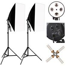 Studio Photo 8 LED 24W Kit Softbox Kit déclairage photographique accessoires Photo appareil Photo 2 support de lumière 2 Softbox 2 support de lampe