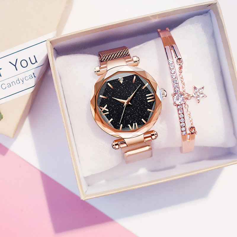 Women Starry Sky Watches Bracelet Luxury Magnetic Mesh Quartz Watch Wristwatch Ladys Female Diamond Watch Relogio Feminino