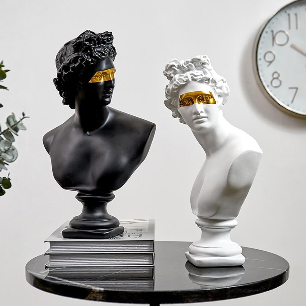 Apollo Harz Statuen dekorative David Kopf Skulptur Figurine Nordic Dekoration Home Zubehör Skizze Praxis Modell Kunst Geschenk