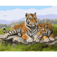 Frame Two Tigers DIY Painting By Numbers Kit Modern Home Wall Art Picture Acrylic Coloring Artwork 40x50cm