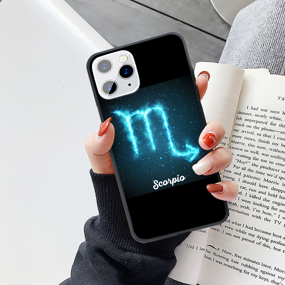 Lovely Blue Star 12 Zodiac Art Signs Candy Soft Silicone Phone Case For iPhone 11 Pro Max