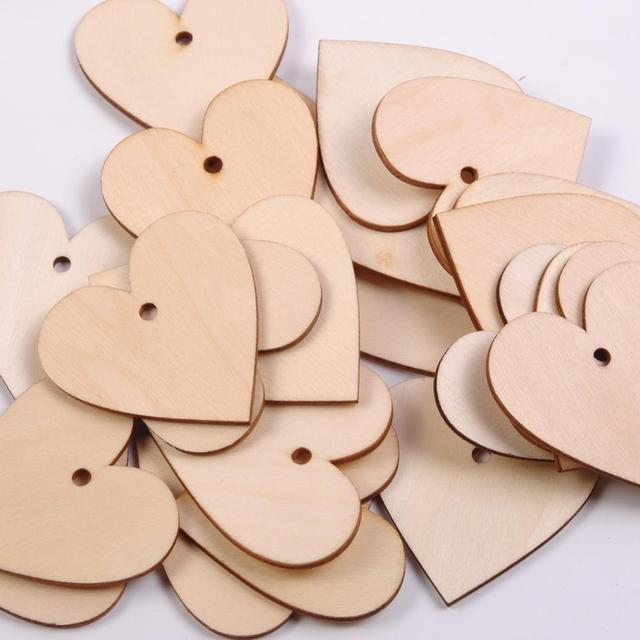 Handmade Wooden Love Heart Shaped Wedding Holiday Decorations Scrapbooking Wood Crafts DIY Birthday Party Supplies cheap CN(Origin) Wedding Engagement Christmas Valentine s Day Easter Anniversary Mother s Day