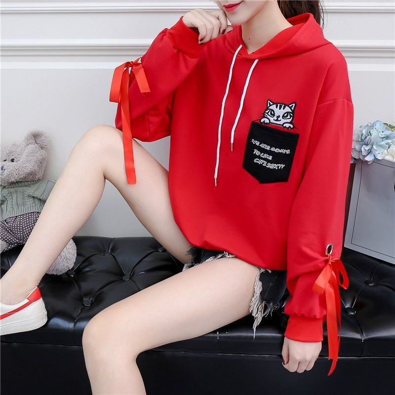 Autumn and Winter New Korean Version of Women's Hooded High Collar Fake Two Fashionable Tops with Plush Thickening for Students 14