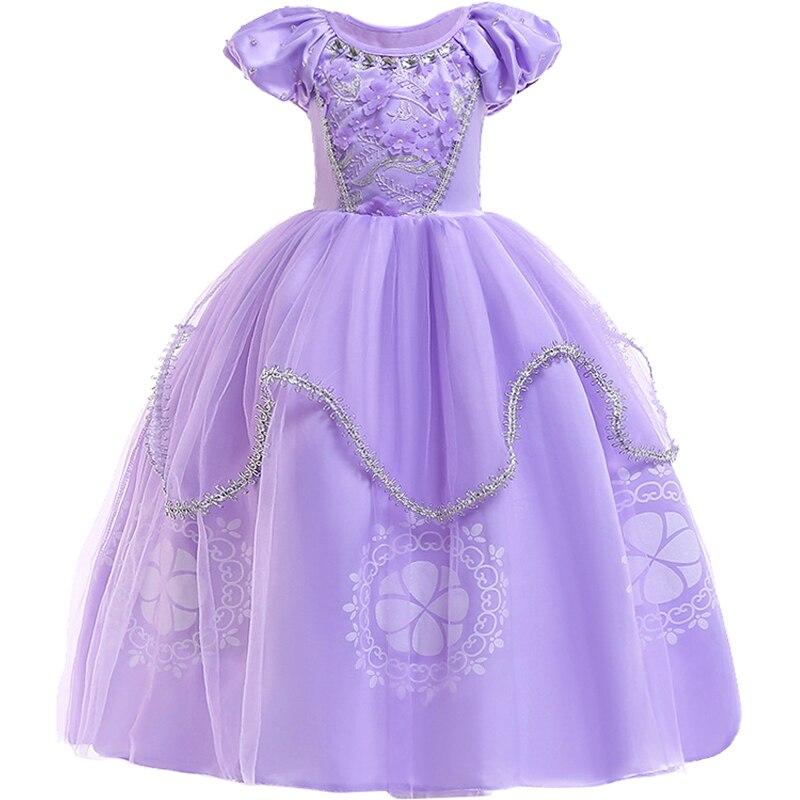 Sofia meninas Vestido de Princesa Crianças Sophia Puff Luva Floral Baguetes Vestidos de Festa do Dia Das Bruxas Aurora Traje do Baile vestidos