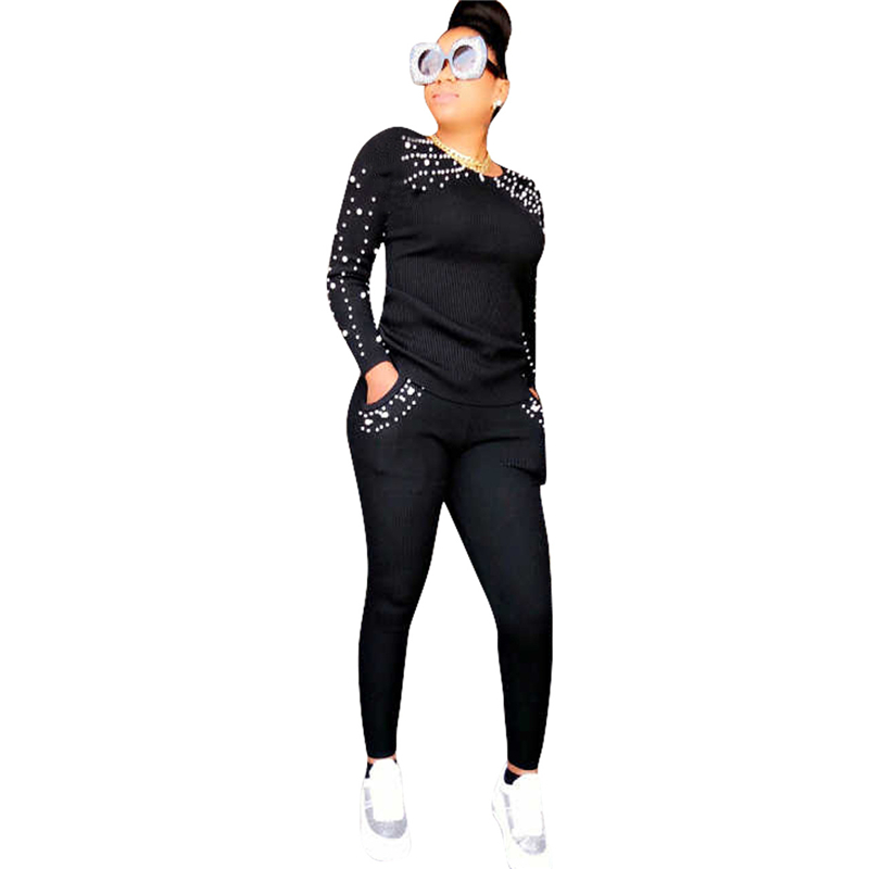 Adogirl Women Fashion Casual Pearls Two Piece Set Tracksuit Long Sleeve T Shirt Top Pockets Pencil Pants Female Sportswear Suit