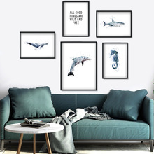 Watercolor Whale Shark Dolphin Seahorse Ocean Animal Nordic Posters And Prints Wall Art Canvas Painting Pictures Kids Room