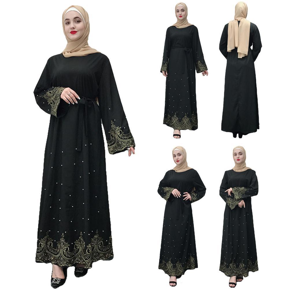 Muslim Women Embroidery Abaya Long Maxi Shift Dress Robe Kaftan Jilbab Islamic