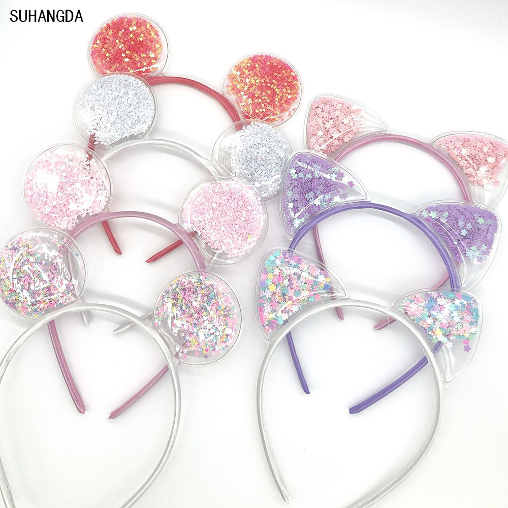 New Girls Cute Colorful Sequin Cat Ears Headbands Children Sweet Cat Ears Hair Band Kids Hair Accessories Scrunchie Christmas