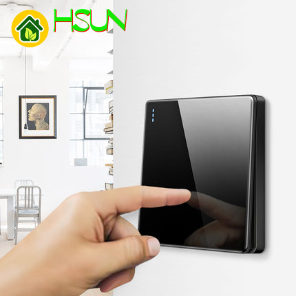High-grade 1 2 3 4 gang 1 2 way big panel black switch socket Type 86 Wall 2.5D Cambered Mirror Toughened glass Computer TV 1
