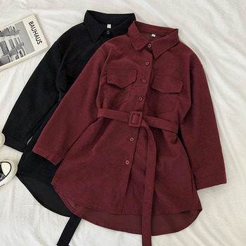 Women Autumn Shirts Dress Retro Pockets Long Sleeve Bandage Winter Female New Fashion Solid Single-breasted Casual Blouse Dress spring autumn new fashion female button long sleeve office lady solid shirt dress women casual slim new dress