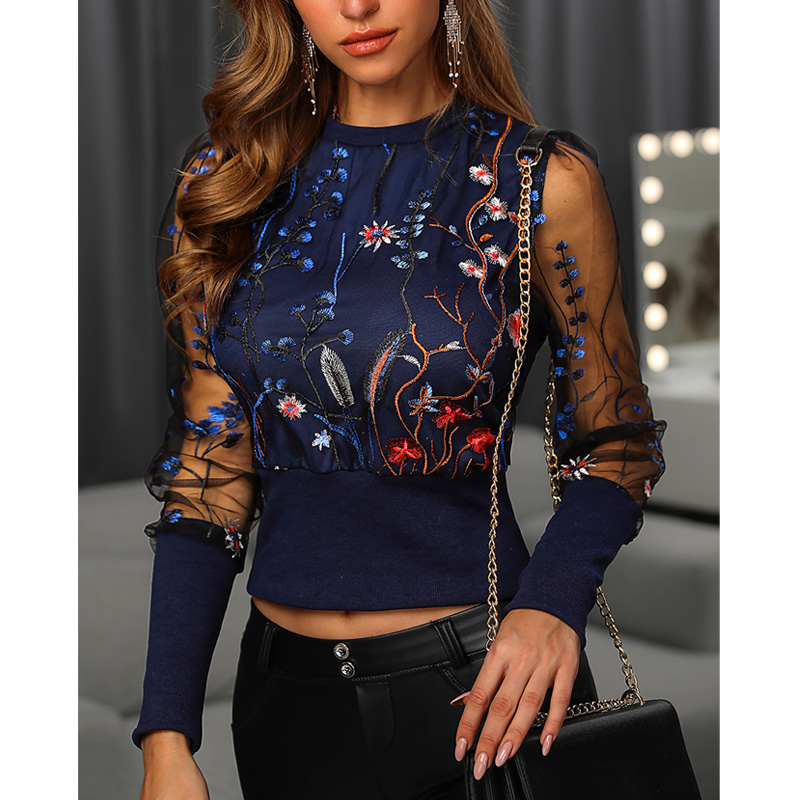 2020 New Fashion Women Blouses Tops Floral Embroidery Long Sleeve Round Neck Sheer Mesh Insert Blouse