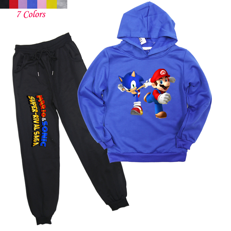Girls Fashion Pant Hoodies Jogging-Suit Autumn Kids Boys Casual The Spring Harem Sonic