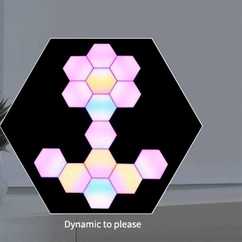 DIY светодиодный цветной квантовый светильник шестиугольный модульный сенсорный ночник магнитный шестигранный креативный подарок декорат... - 6