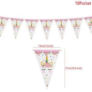 Image 2 - Tęczowa opaska jednorożec banery papierowe jednorożec dekoracje na imprezę urodzinową dla dzieci impreza jednorożec wiszące Garland flagi przybory dla niemowląt